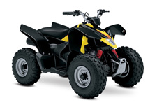 The 2017 Suzuki Z90 is the ideal ATV for young riders to grow skills with. Convenient features like an automatic transmission and electric starter help make this ATV suitable for supervised riders ages 12 and up. An easy-to-set throttle limiter lets adults set the power level appropriately for young riders, and a keyed ignition switch makes sure there's no unauthorized journeys. Get your little ones started on the Quadsport Z90 so your whole family can experience the fun of the outdoors and the joy of riding a Suzuki!